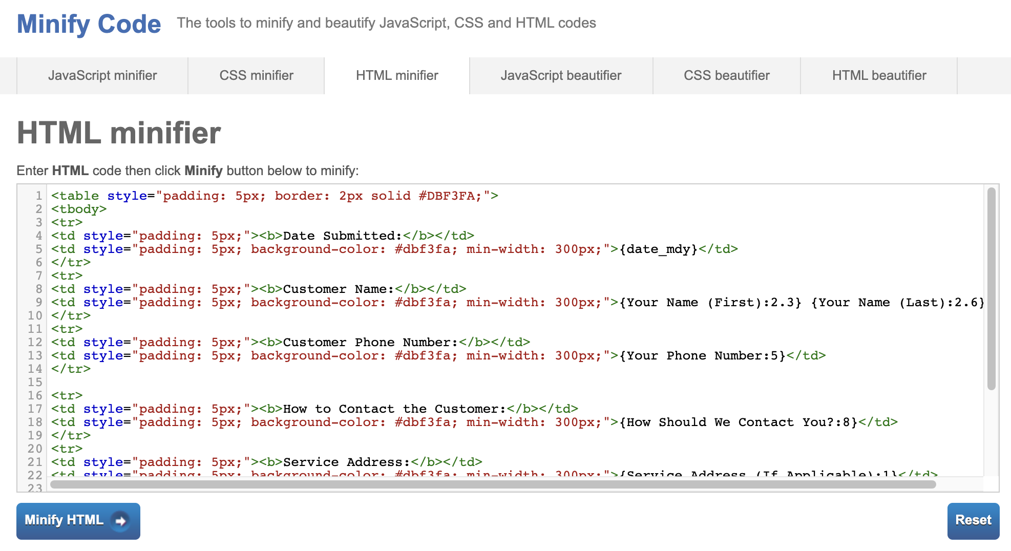 HTML Code Minify